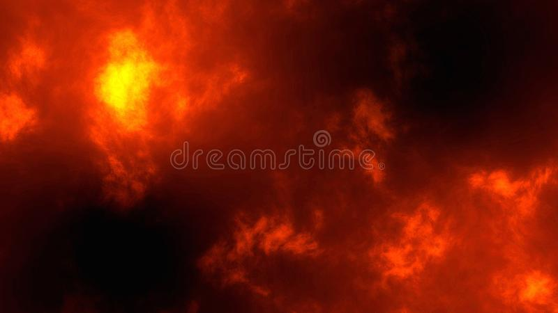 Abstract Gold glitter bokeh particles, fire background 3d render stock image