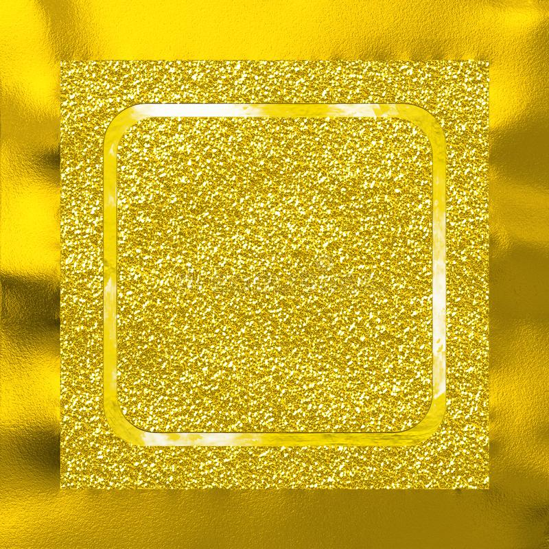 Abstract gold glittery background with golden metallic frame vector illustration