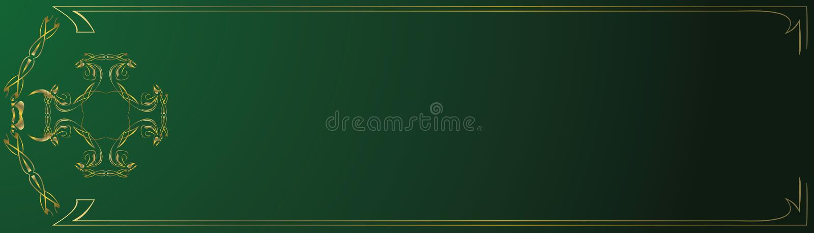 Abstract gold and green banner stock illustration