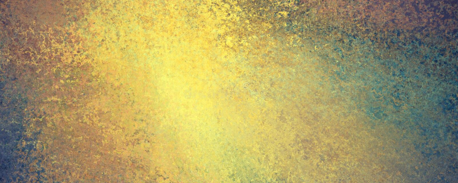 Abstract gold grunge on blue green background with lots of texture and distressed vintage grungy surface royalty free illustration