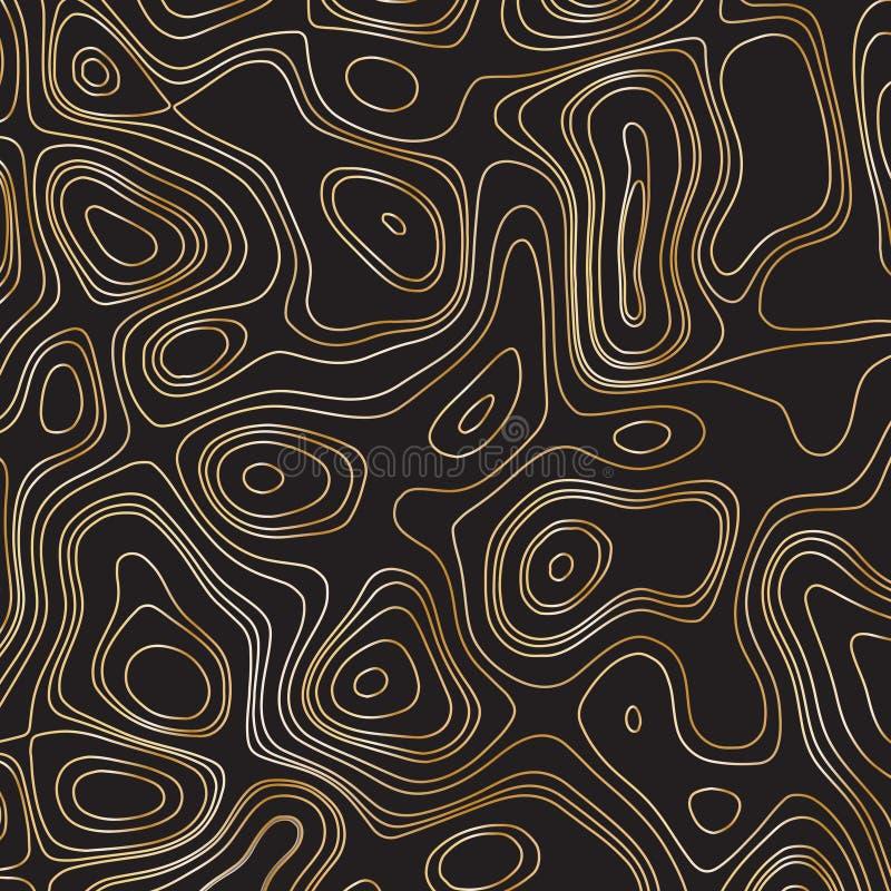 Abstract gold line waves design. On black background - Vector Illustration stock illustration