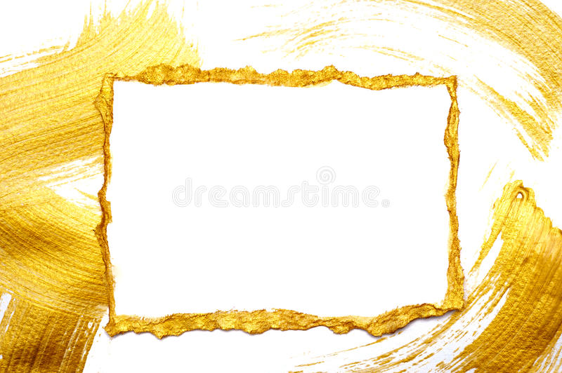 Abstract gold painted frame on a white and gilded background with place for your text. Abstract gilded painted frame on a white and gold background with place royalty free stock image