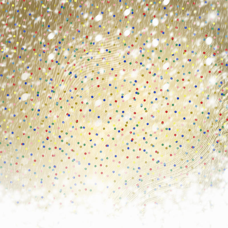Abstract gold paper background with multicolored confetti royalty free illustration