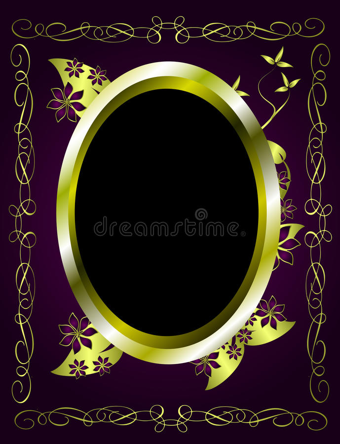 Abstract Gold and Purple Floral Vector Design royalty free illustration