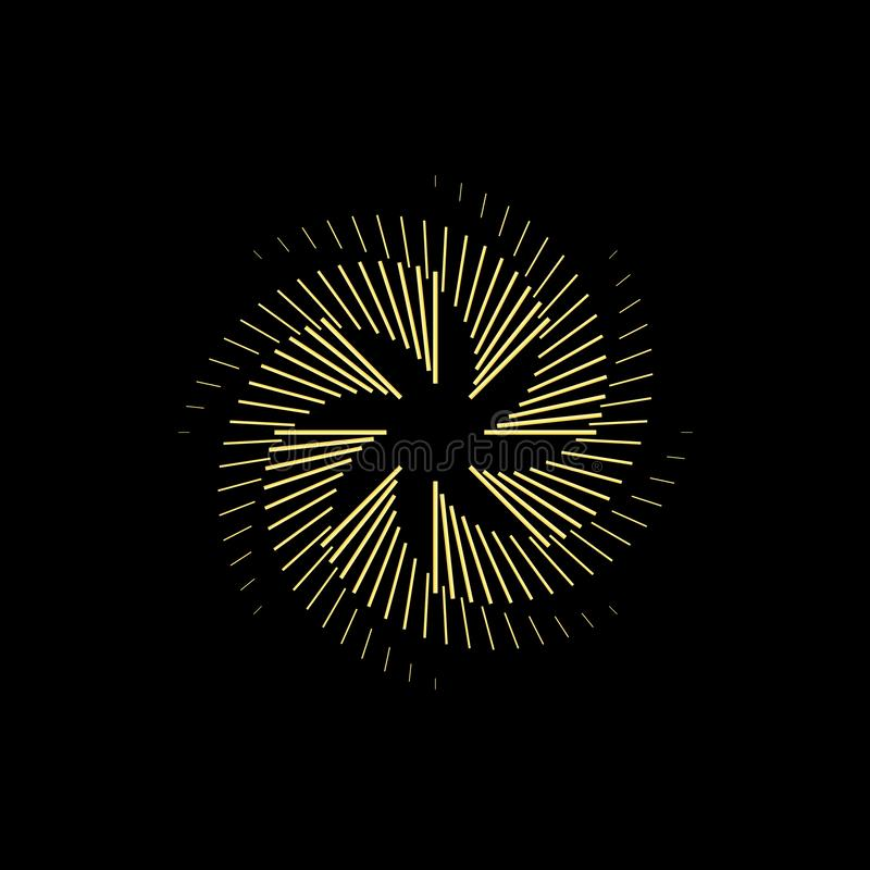 Abstract Gold round shape on dark background. Logo design template for business. stock illustration