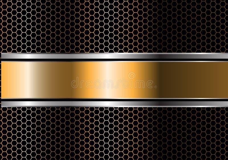 Abstract gold silver black line banner overlap on metal hexagon mesh design modern luxury futuristic background vector vector illustration