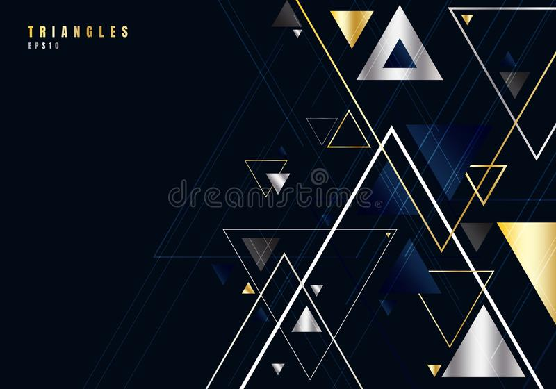 Abstract gold and silver triangles shape and lines on black background for business luxury style. Geometric design element for royalty free illustration