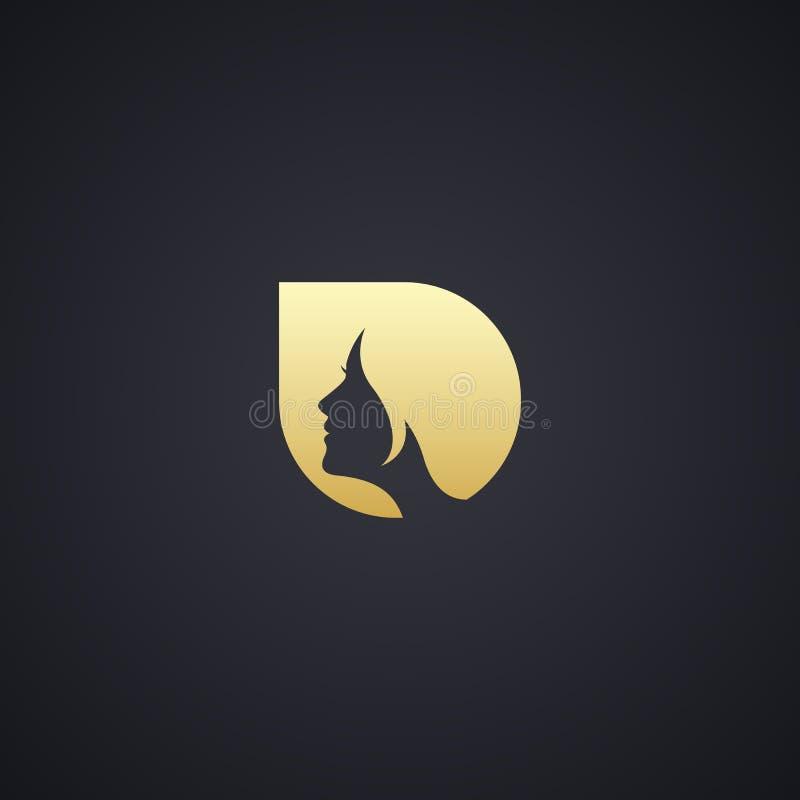 Modern Shoe Logo Collection: Woman Face Web Logo Icon Gold Stock Illustration