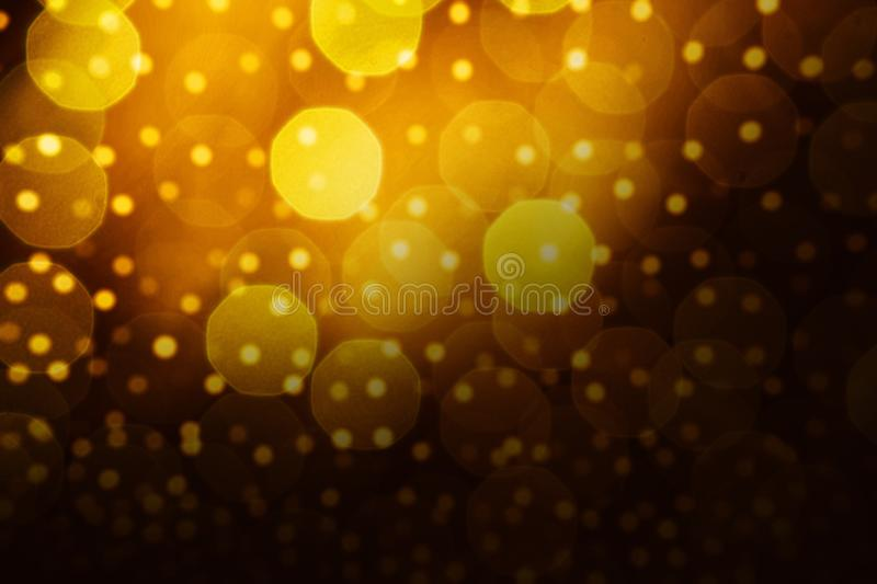 Abstract golden bokeh background with blank space stock illustration