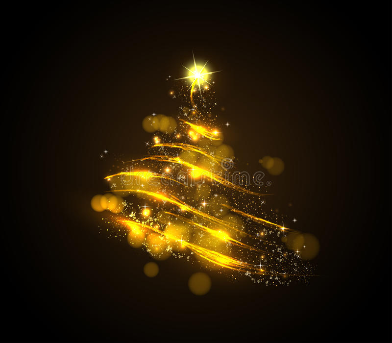 Abstract golden christmas tree royalty free illustration