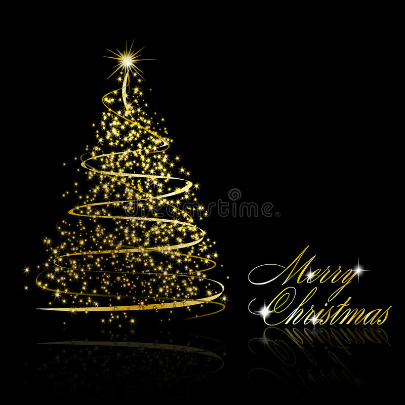 Download Abstract Golden Christmas Tree On Black Background Stock Vector - Image: 17055006