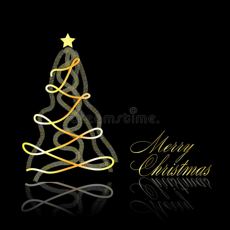 Download Abstract Golden Christmas Tree On Black Background Stock Vector - Image: 21331090