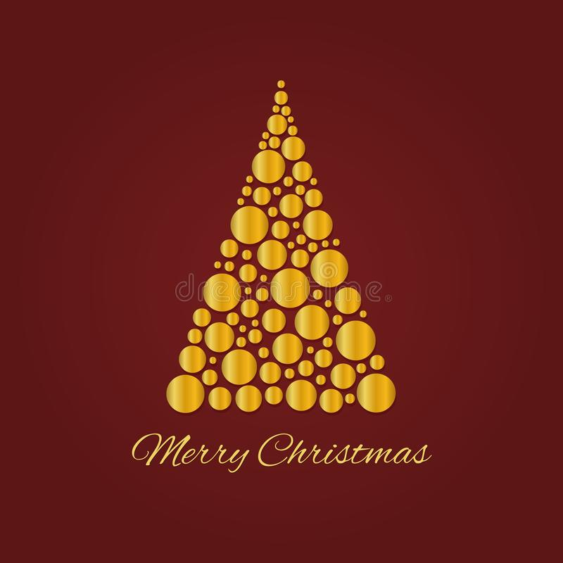 Abstract golden Christmas tree on dark red background. Symbol of Happy New Year, Merry Christmas holiday made of gold circle royalty free illustration