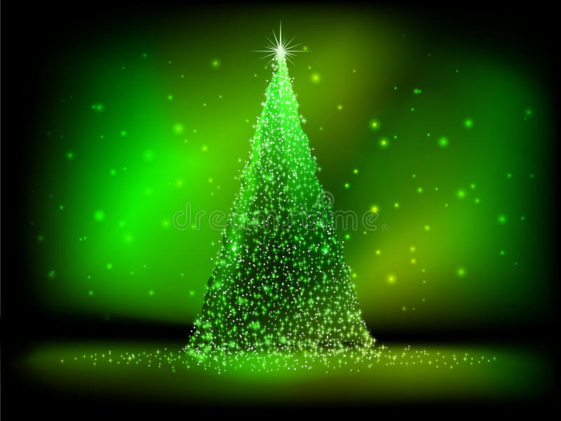 Abstract Golden Christmas Tree On Green. EPS 10 Royalty Free Stock Photo