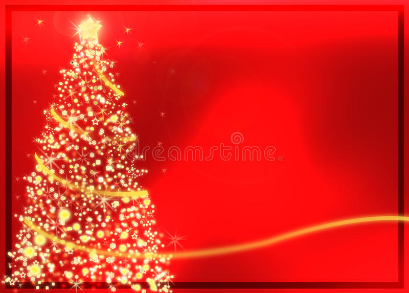 Abstract golden christmas tree on red background stock illustration