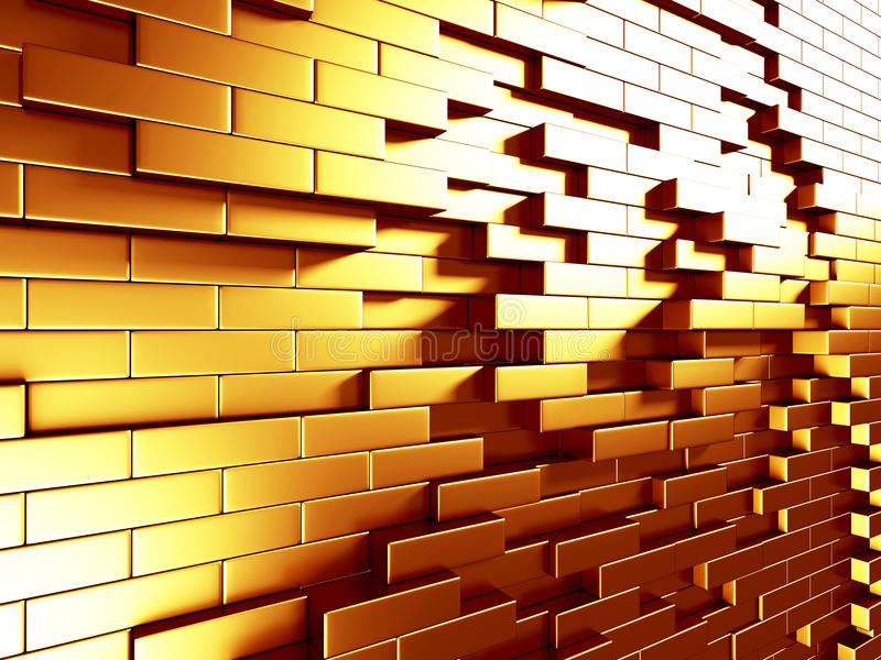 Abstract Golden Cubes Wall Background stock image