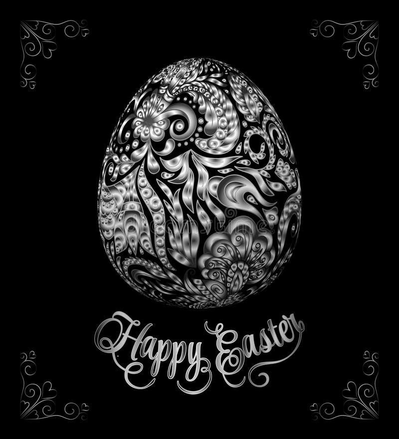 Abstract golden easter egg on black background. Vector eps10 illustration. Happy easter ornate gold lettering royalty free illustration