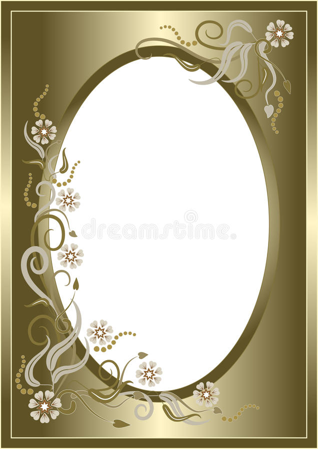 Abstract golden floral frame. Postcard. stock illustration