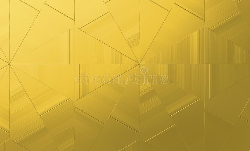 Abstract golden geometric background. gold triangles texture for creative designs. Rough Gold metallic abstract background, rough geometric golden texture for royalty free illustration