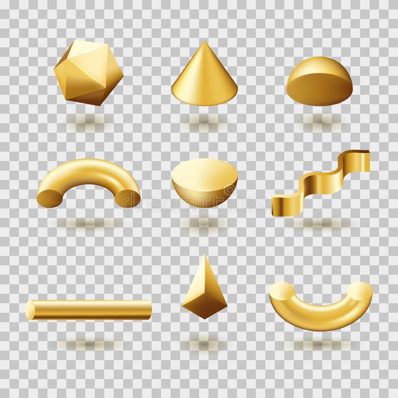 Abstract golden geometric shapes set. Vector 3d illustration. Gold gradient modern trendy design elements royalty free illustration