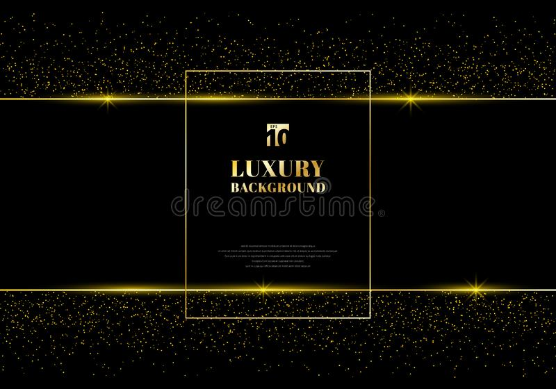 Abstract golden glitter and shiny gold frame on black background. Luxury elegant trendy style. You can use for wedding Invitation royalty free illustration