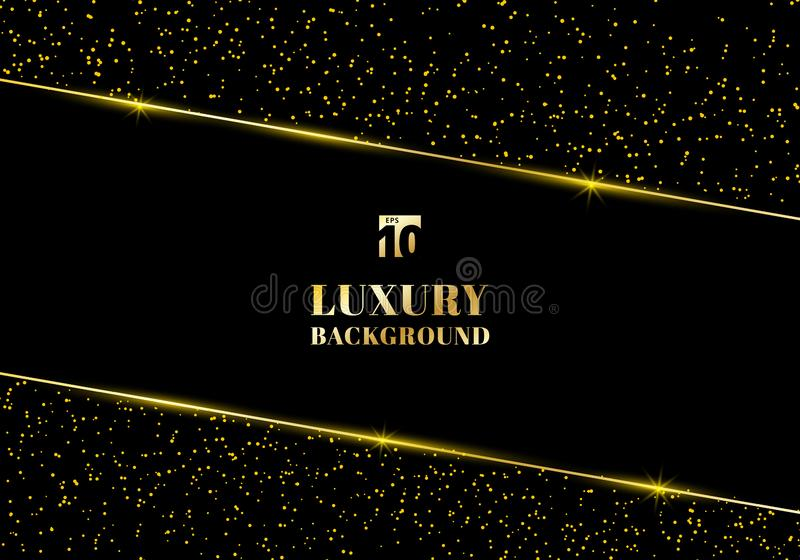 Abstract golden glitter and shiny gold frame on black background. Luxury elegant trendy style. You can use for wedding Invitation stock illustration