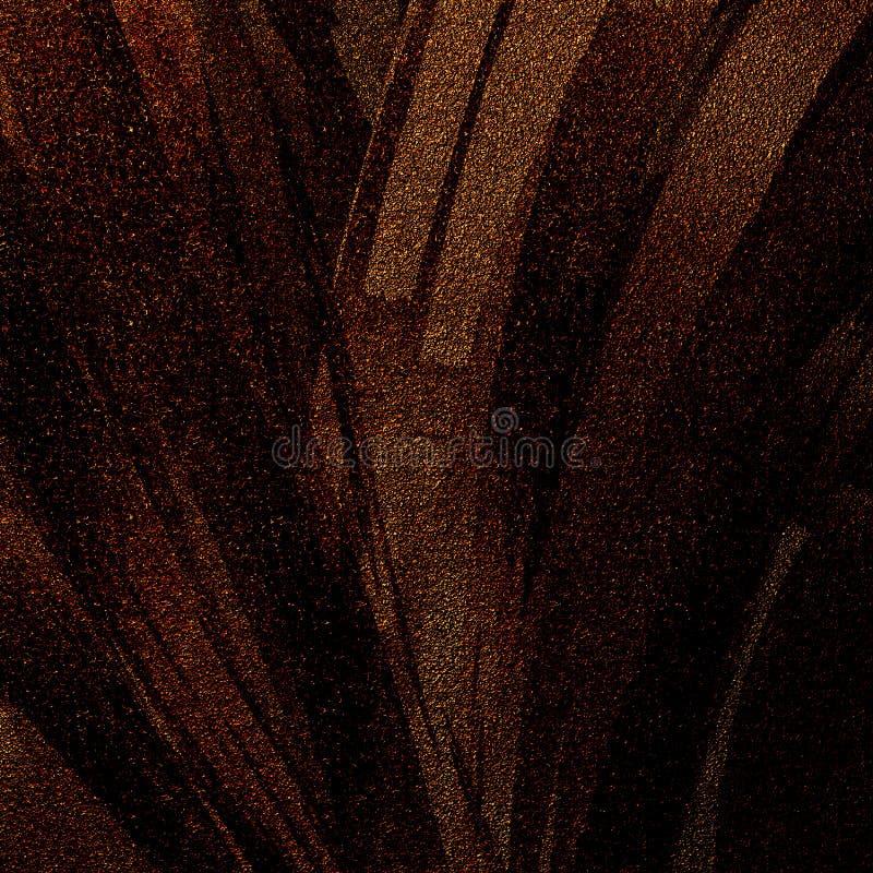 Abstract golden glitter strokes art for creative looks. Dark tiled surface pattern. royalty free illustration