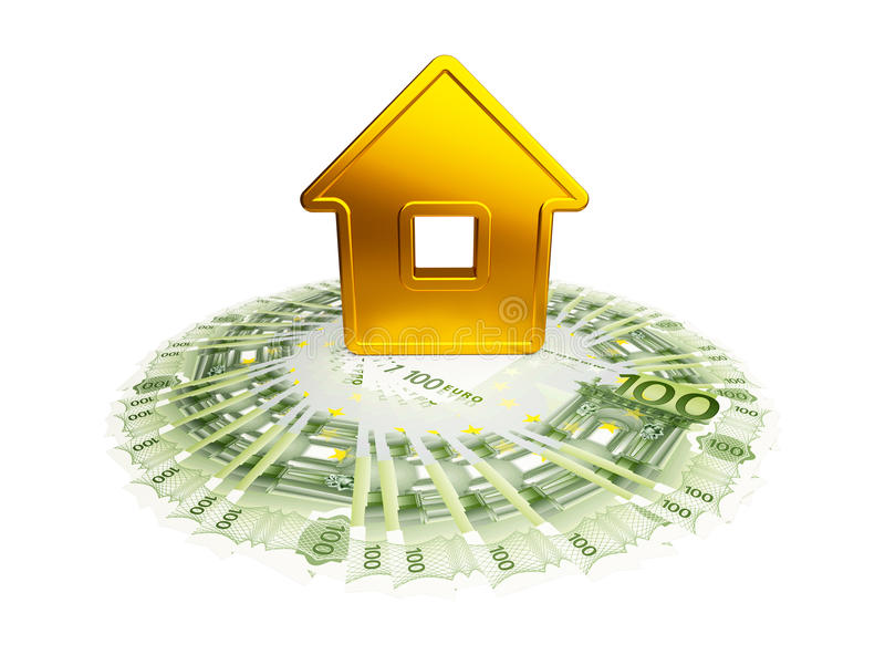 Download Abstract Golden House With A Hundred-euro Stock Illustration - Image: 14849306