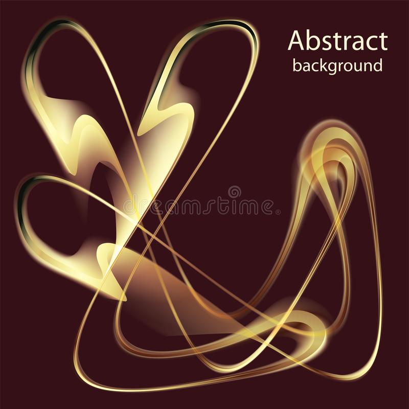 Abstract golden waves on a dark background vector illustration