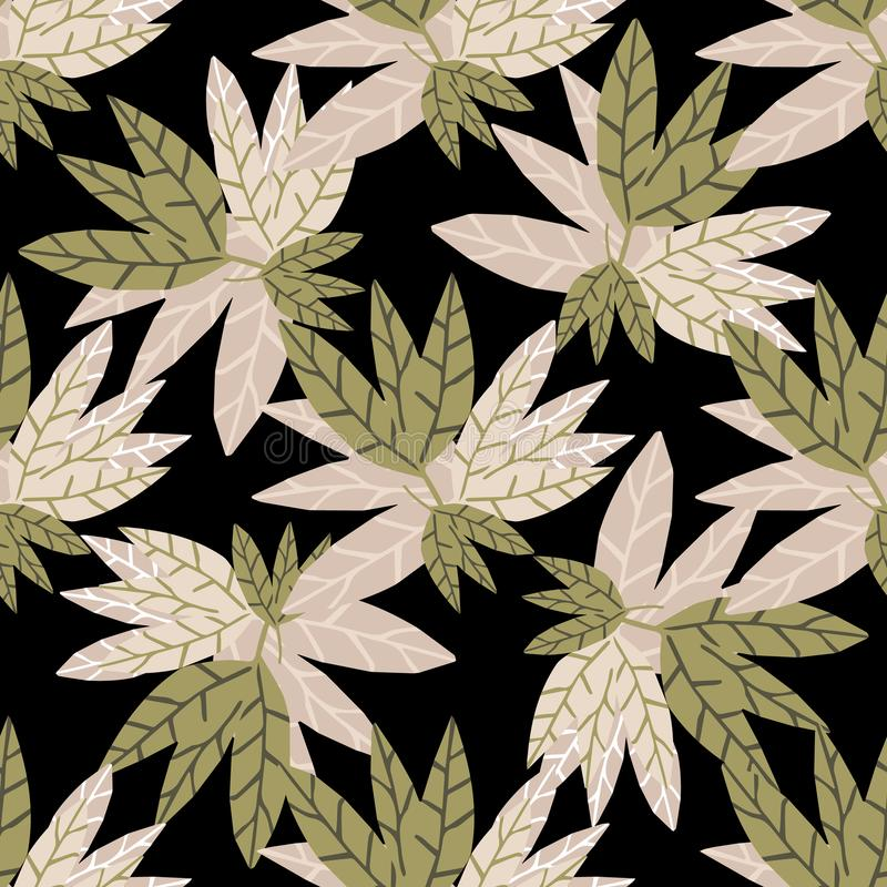 Abstract golden leaves seamless pattern on black background. stock illustration