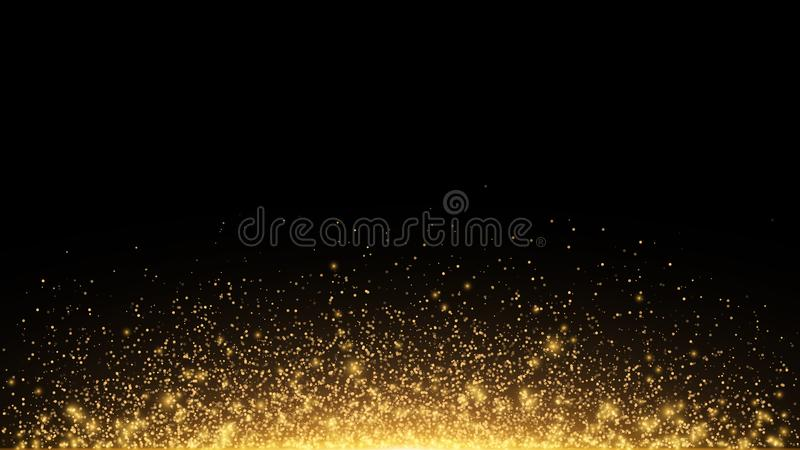 Abstract golden lights with backlight. Flying magical golden dust and glare. Festive Christmas background. Golden Rain. Vector royalty free illustration