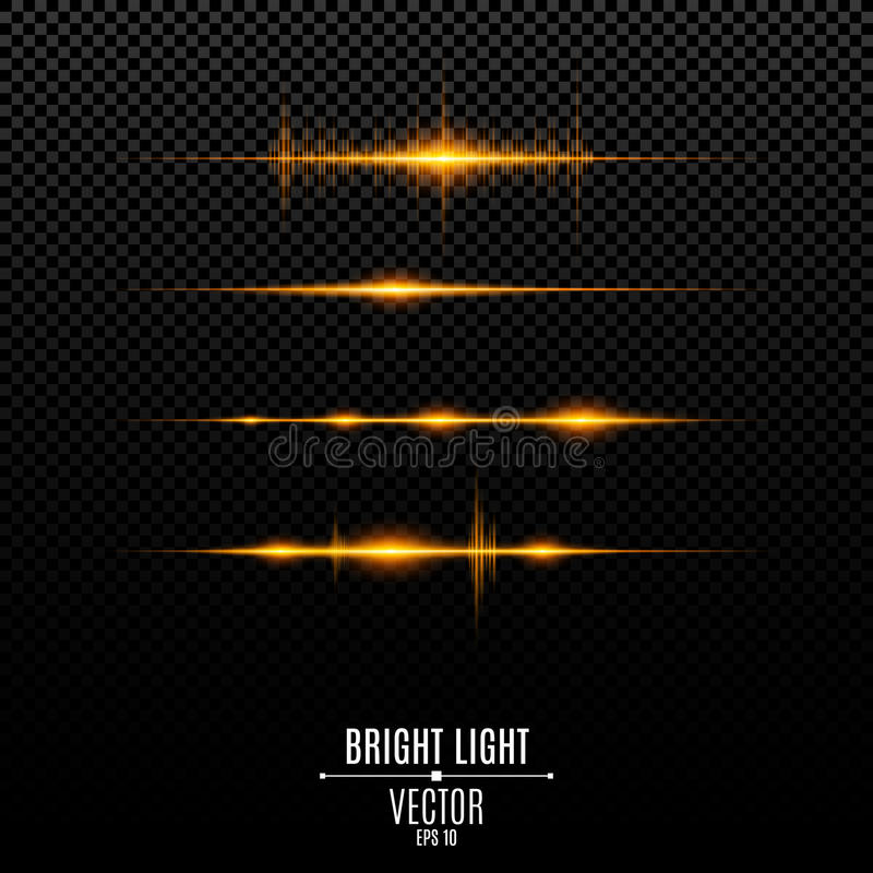 Abstract golden lights. Glowing neon lines. Sound vibrations and light flashes are isolated vector illustration