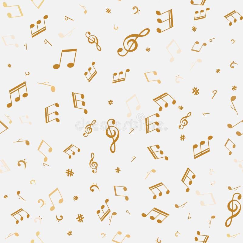 Abstract golden music notes seamless pattern stock illustration