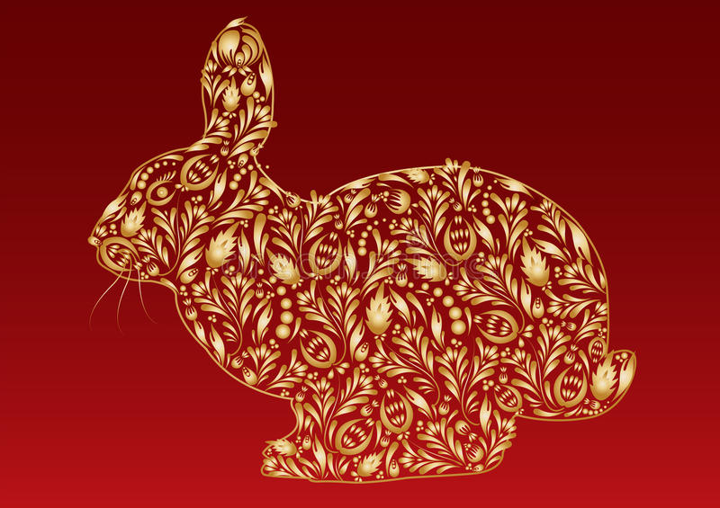 Abstract golden new year rabbit royalty free stock photography