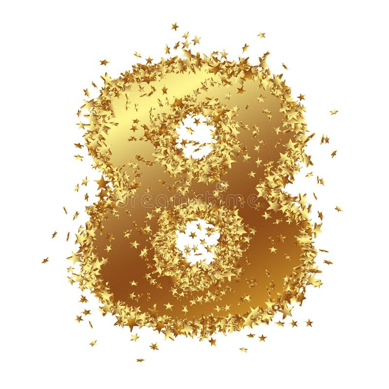 Abstract Golden Number with Starlet Border - Eight - 8 stock illustration