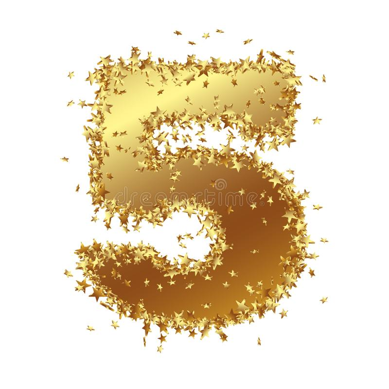 Abstract Golden Number with Starlet Border - Five - 5 royalty free illustration