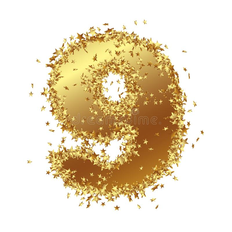 Abstract Golden Number with Starlet Border - Nine - 9 vector illustration