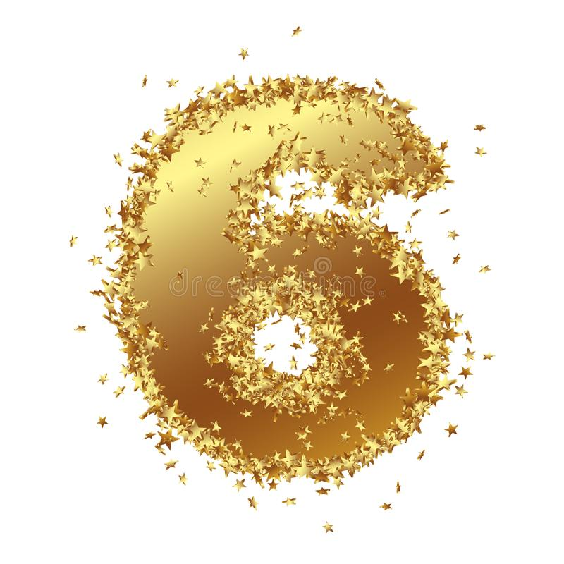 Abstract Golden Number with Starlet Border - Six - 6 stock illustration