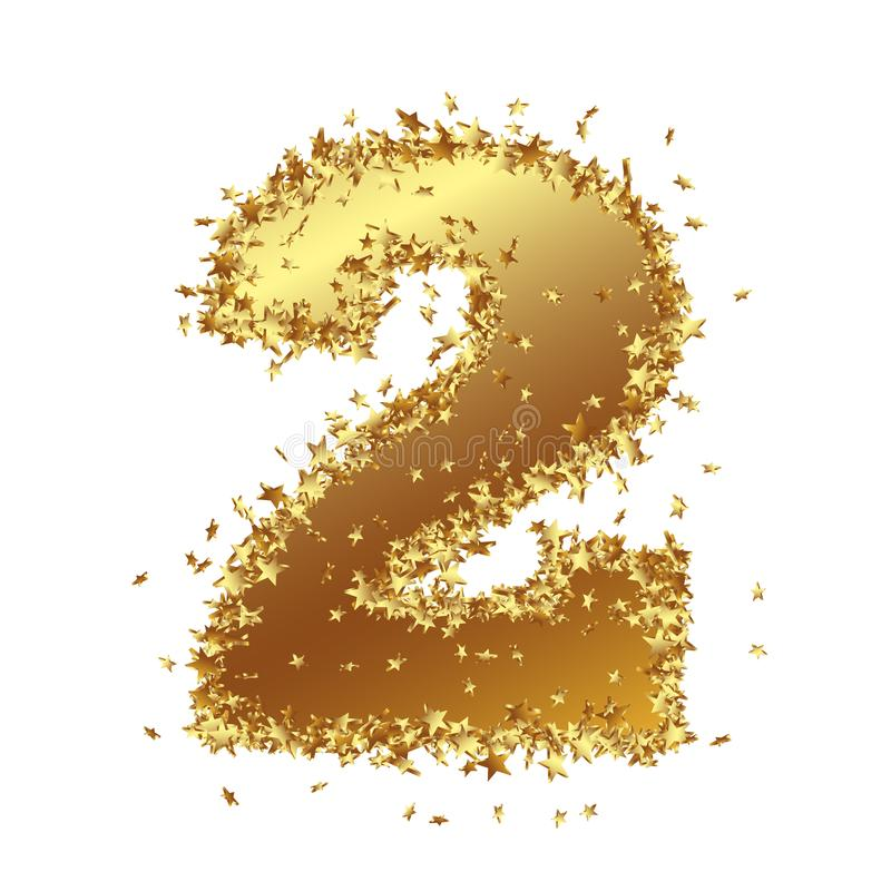 Abstract Golden Number with Starlet Border - Two - 2 royalty free illustration