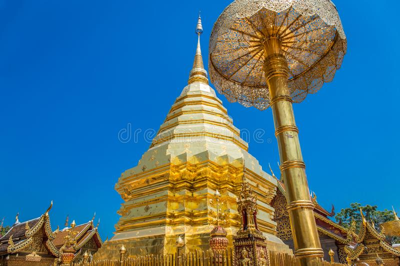 Abstract golden pagoda at Wat Phra That Doi Suthep stock photography