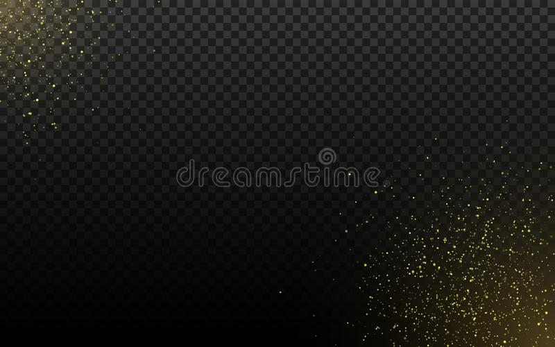 Abstract golden sparkle on a transparent background. Gold dust and glares. Christmas magical dust. Shimmering particles. Vector stock illustration