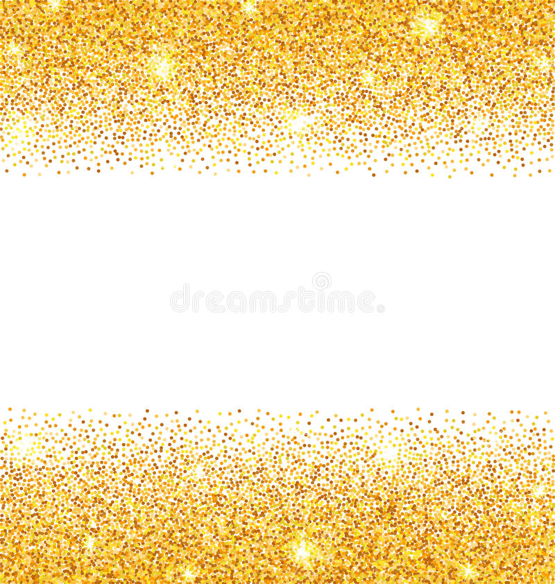Abstract Golden Sparkles on White Background. Gold Glitter Dust stock illustration