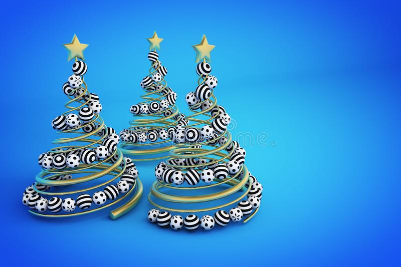 Abstract golden spiral christmas tree with dotted and striped balls. 3d render illustration on blue background. vector illustration