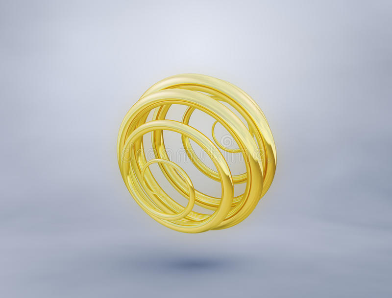 Abstract golden spiral. Abstract image of a gold spirals on gradient background. 3D rendering stock illustration