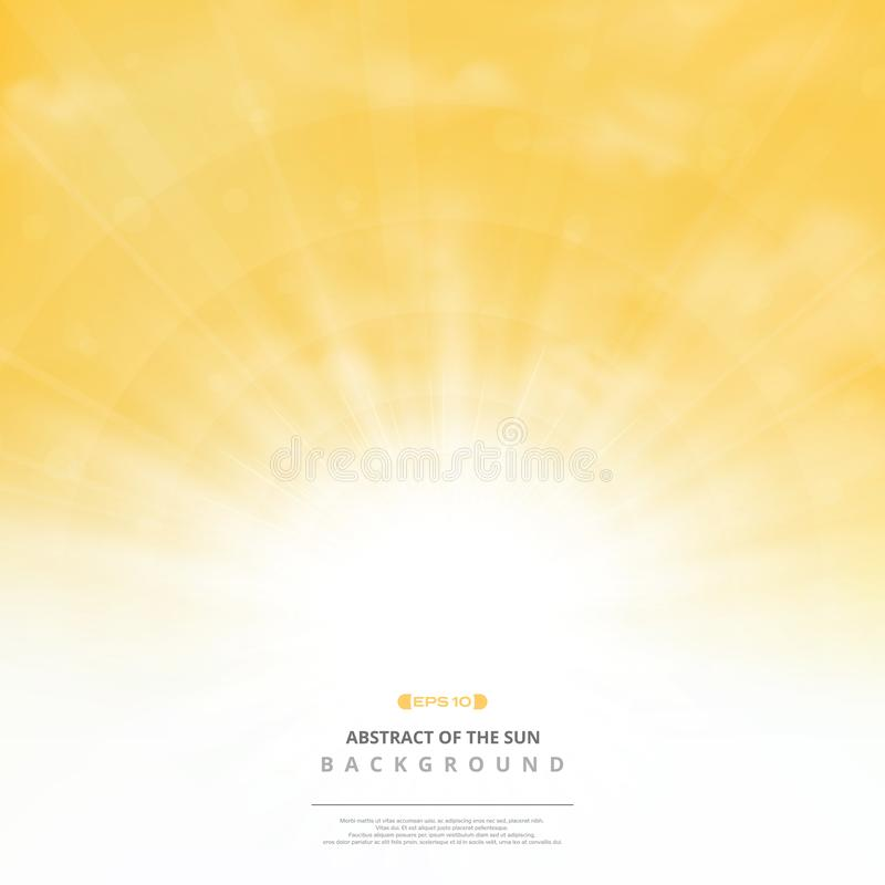 Abstract golden sun with clouds on soft gold sky background. You can use for post text, copy space, ad, poster, cover design,. Artwork, nature print stock illustration