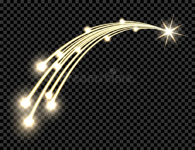 Abstract golden wave design element with shine and light effect on a dark background. Comet, the star. Transparent. Background. Vector illustration vector illustration