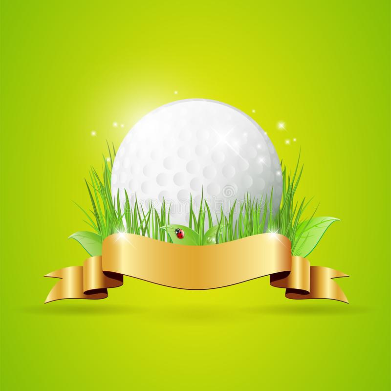 Abstract golf background with ball, grass and golden ribbon royalty free illustration