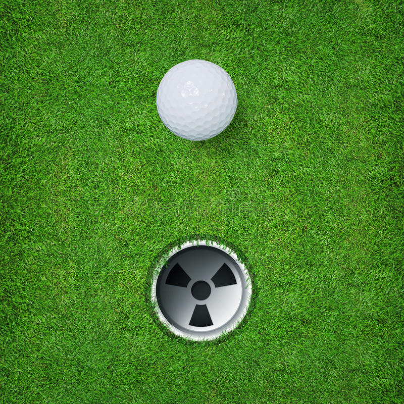Abstract golf sport background of golf ball and golf hole on green grass background. stock photo
