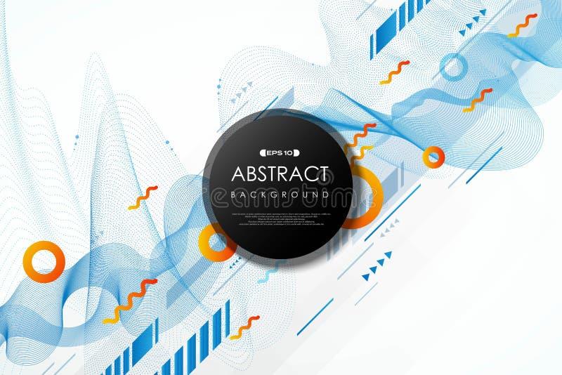 Abstract golvend de lijnpatroon van technologie van de gradiënt blauw en geel kleur van futuristische ontwerp geometrische achter stock illustratie