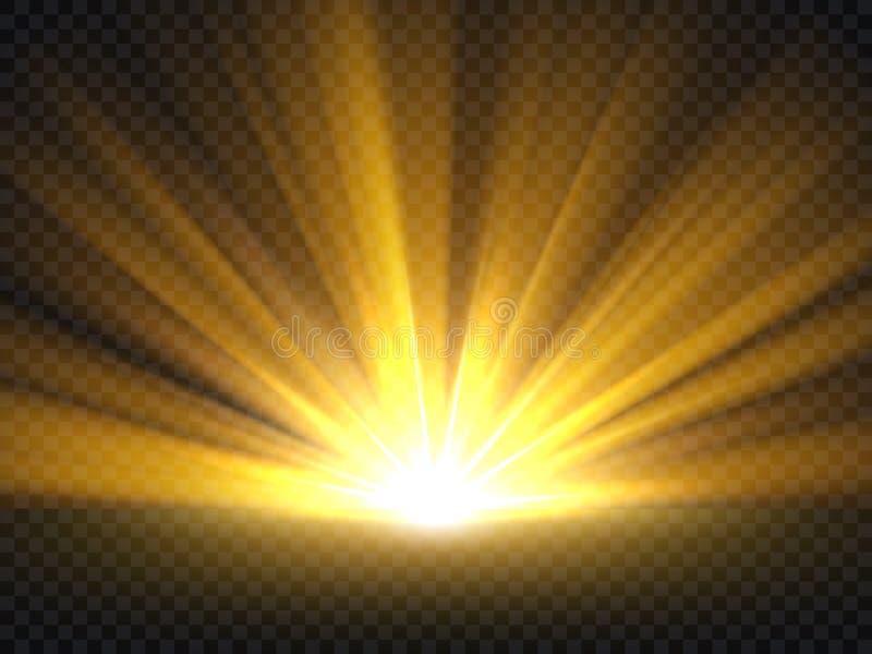 Abstract gouden helder licht Het goud glanst uitbarstings vectorillustratie vector illustratie
